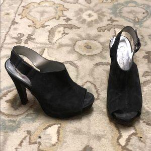 Jessica Simpson black velvet dress heels Sz 6.5B
